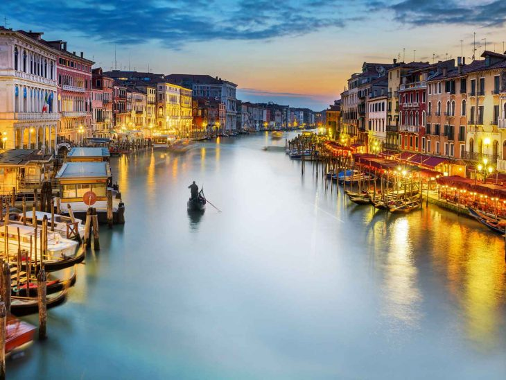 Grand Canal in Venice at night.