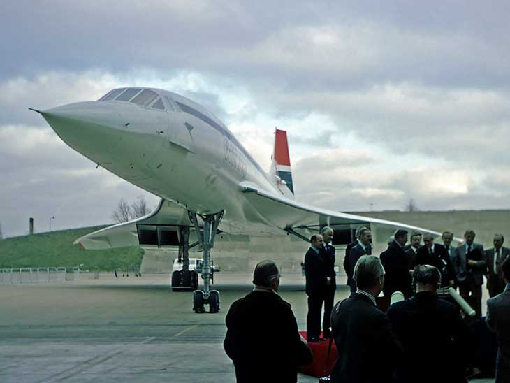 BA:s first Concorde on display at London Heathrow. London - New York was the first supersonic route and operated by a Concorde.